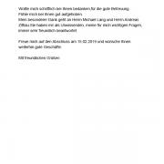 Empfehlungsschreiben vom 01.07.2019